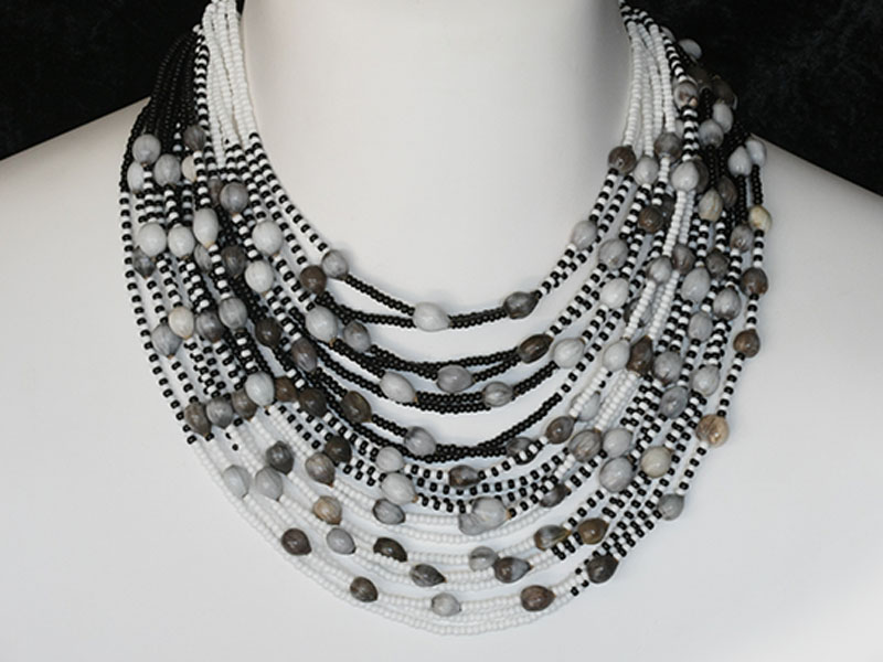 Black and white with coix beads