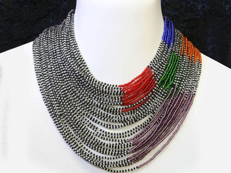 Black, silver and multi colour