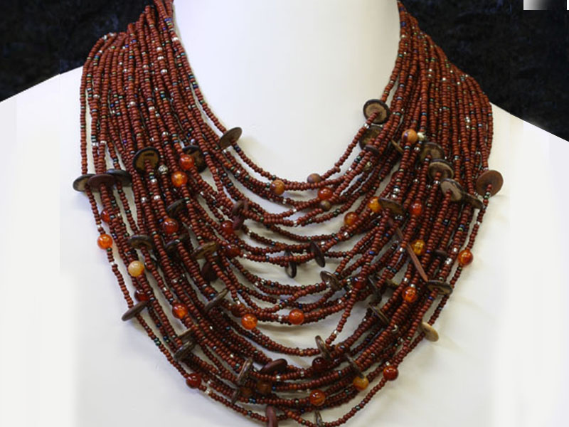 Brown with fancy bead accent