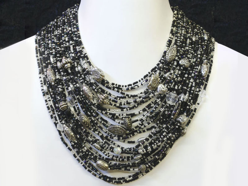 Black and silver with fancy bead accents