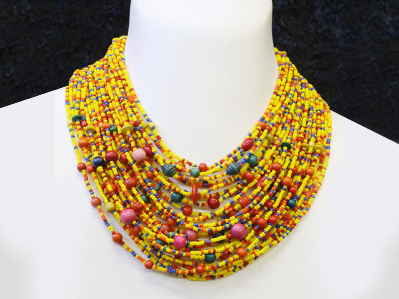 Yellow with fancy bead accents