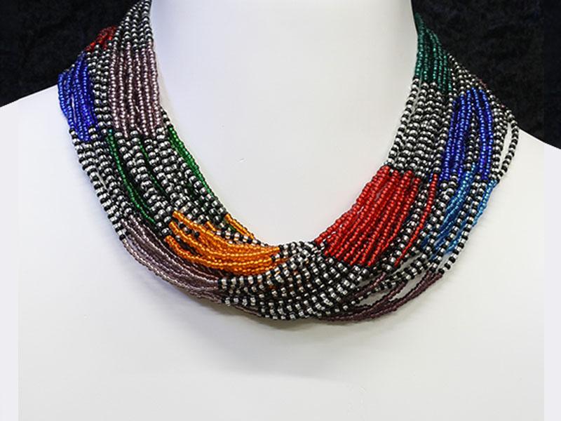 Multi colour, silver and black
