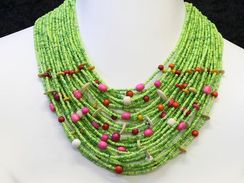 Green with fancy bead accents