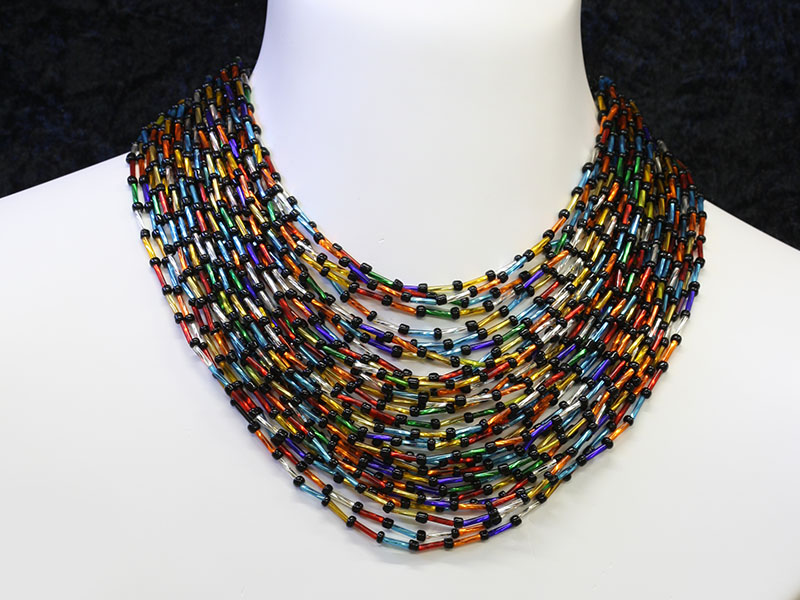 Tube multi colour beads and black beads