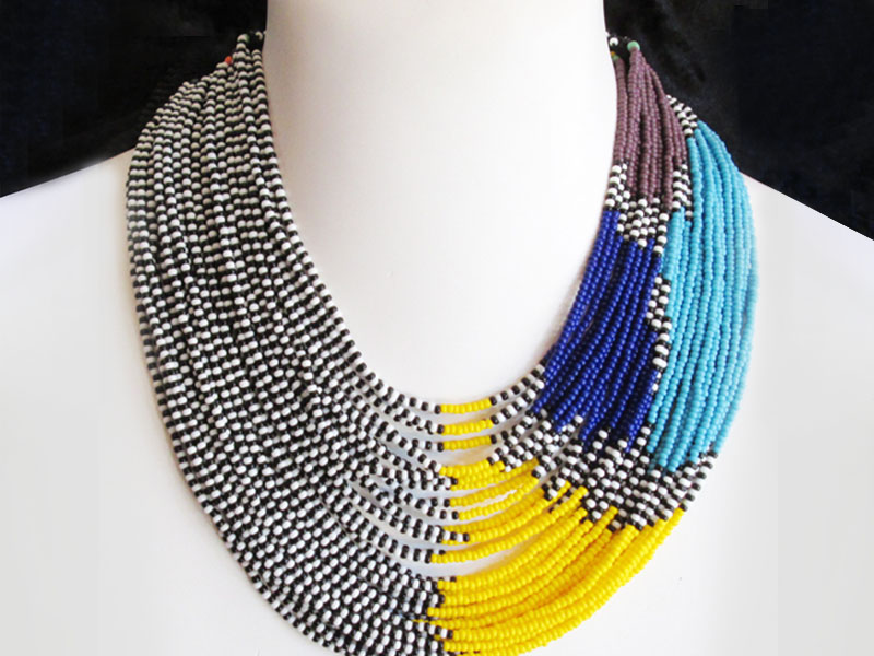 Black, white, yellow and blue