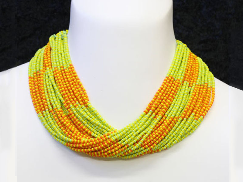 Orange, yellow and pastel green