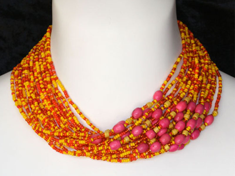 Orange, yellow and fancy accent beads