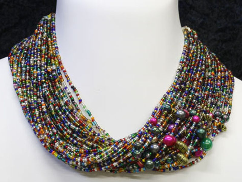 Multi colour with fancy bead accents