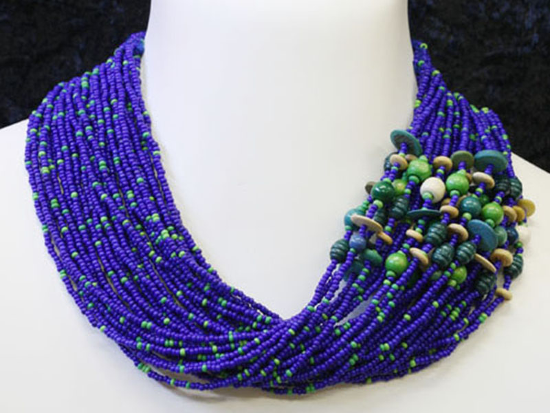 Blue, green with fancy bead accent