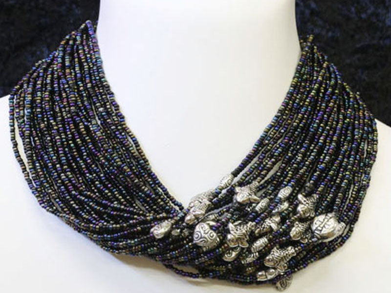 Oil black and black with fancy bead accents