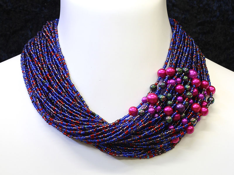 Blue, red and purple with fancy bead accents