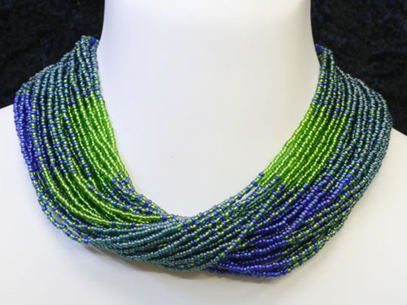 Green, turquoise and purple