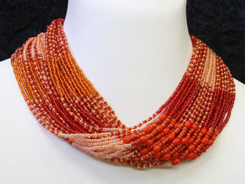 Red, orange with fancy bead accents