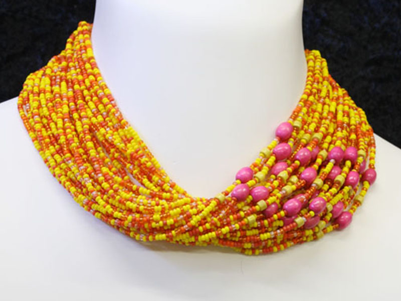 Yellow, orange with fancy bead accents