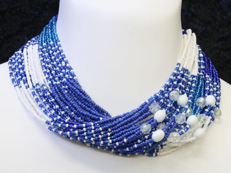 Blues and white with fancy bead accents