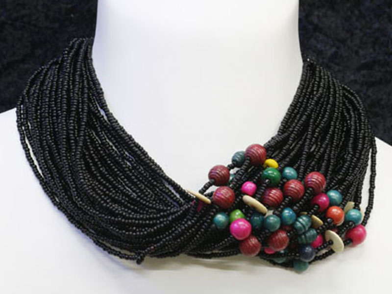 Black and multi colour with fancy bead accents