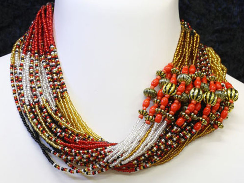 Transparent silver, black, red with fancy accent beads