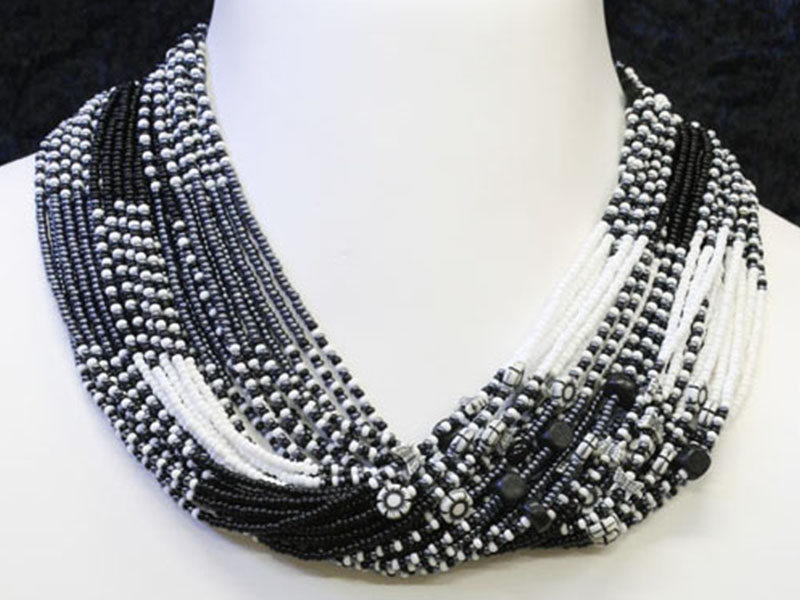 Black, white with fancy accent beads