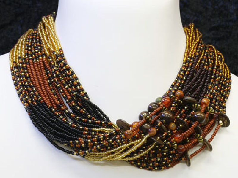Black, brown with fancy accent beads
