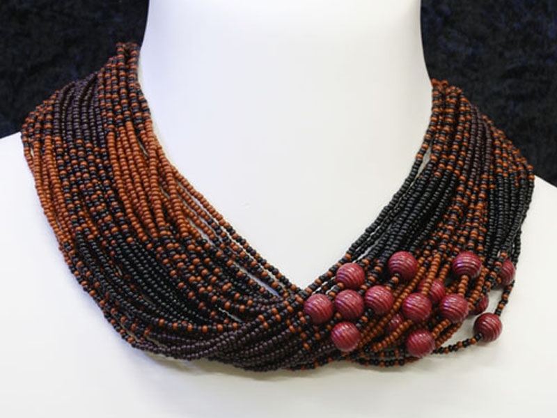 Brown, black with fancy accent beads