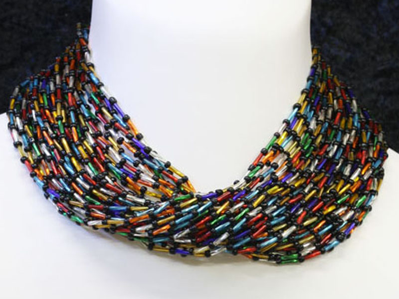 Multi colour tube beads with black beads