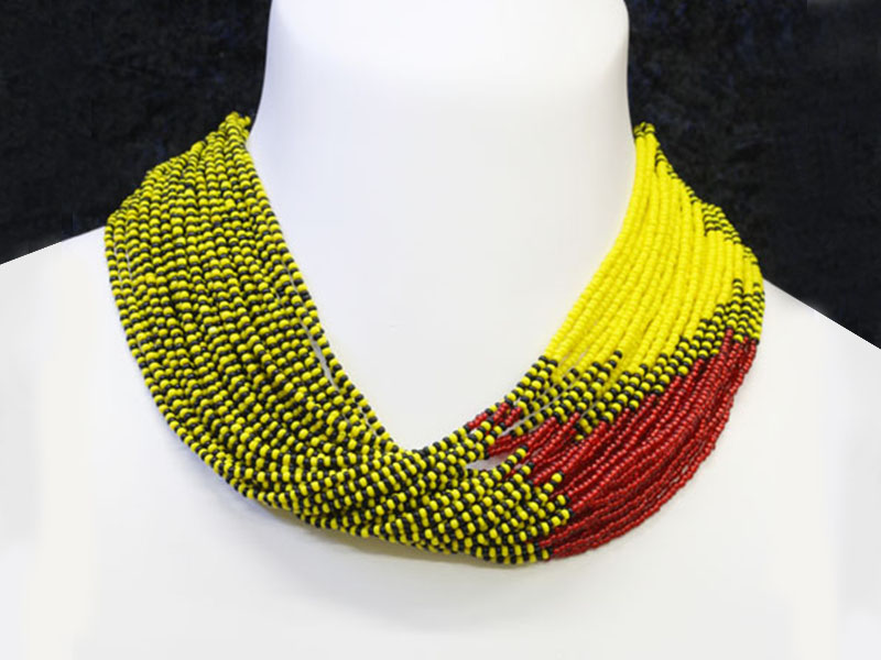 Yellow, red and black