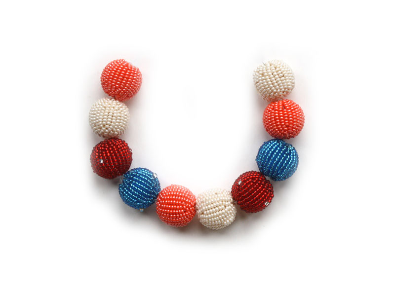 Cream, red and blue