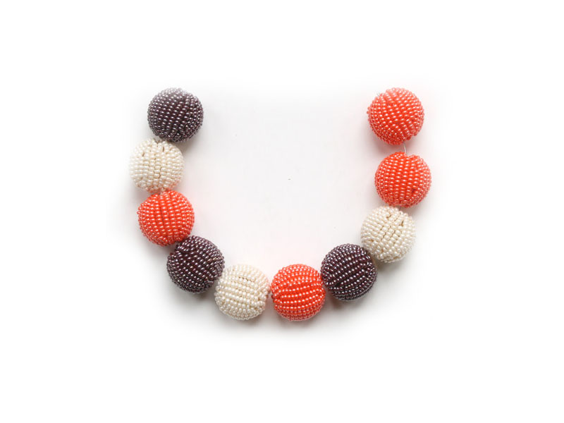 Ivory, orange and brown