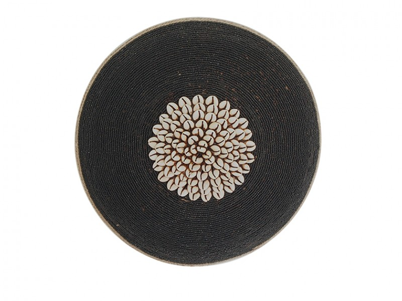 Small Beaded Shield - Black with Cowrie Center