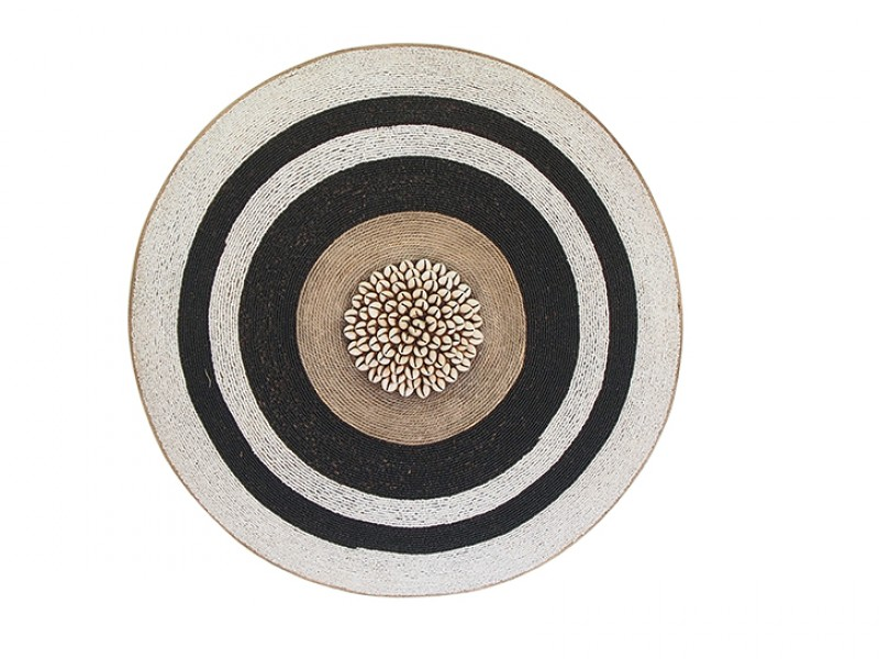 Beaded Shield - White With Black Rings, Manilla and Cowrie Center