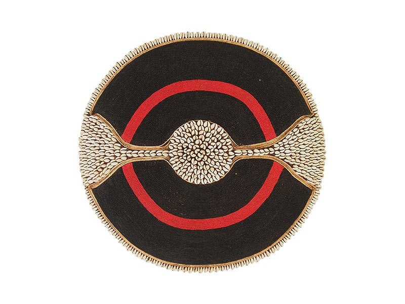 Beaded Shield - Black With Red Ring and Cowrie shell Band and Trim