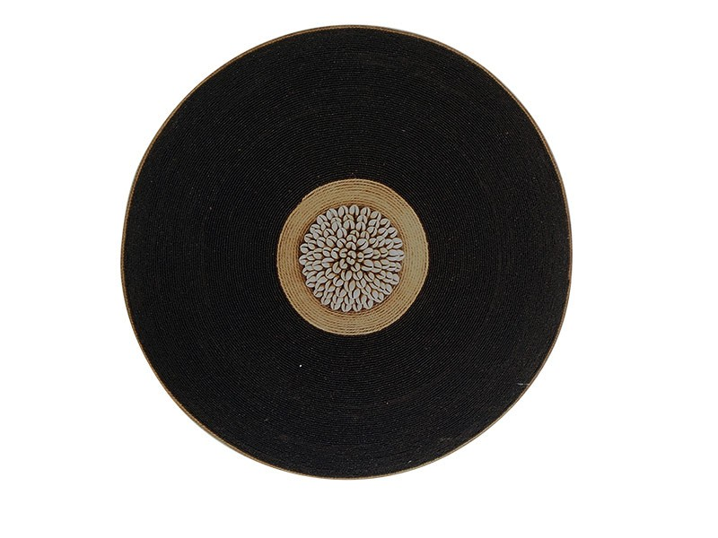 Beaded Shield - Black with Manilla String and Cowrie Center