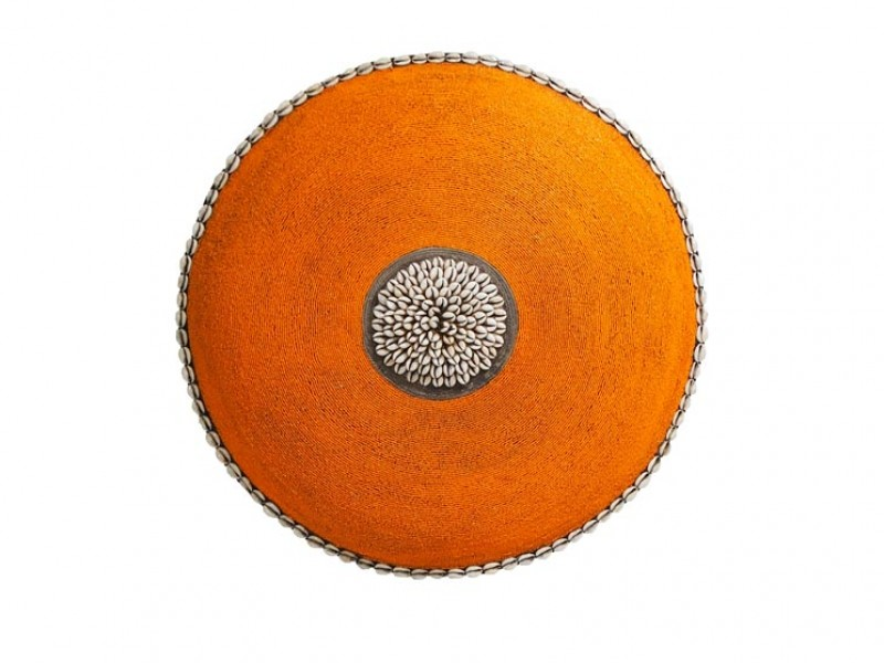 Beaded Shield - Orange with Cowrie Centre