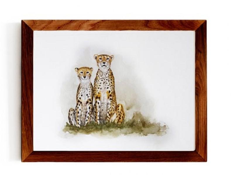 Animal Wildlife Print - Mom and Daughter