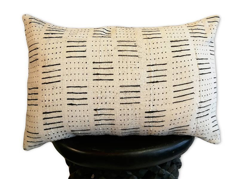 "Lumbar Cushion Cover 60 x 40cm /24"" x 16"" white and black"