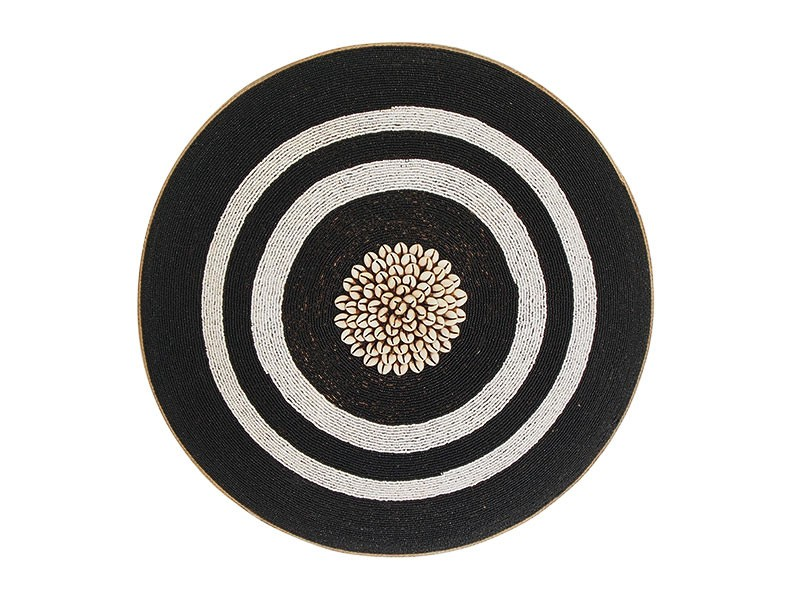 Beaded Shield - Black with White Rings and Cowrie Center
