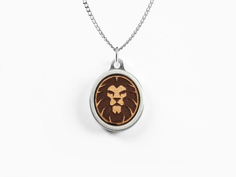 Lion Leather Inlay Pendant