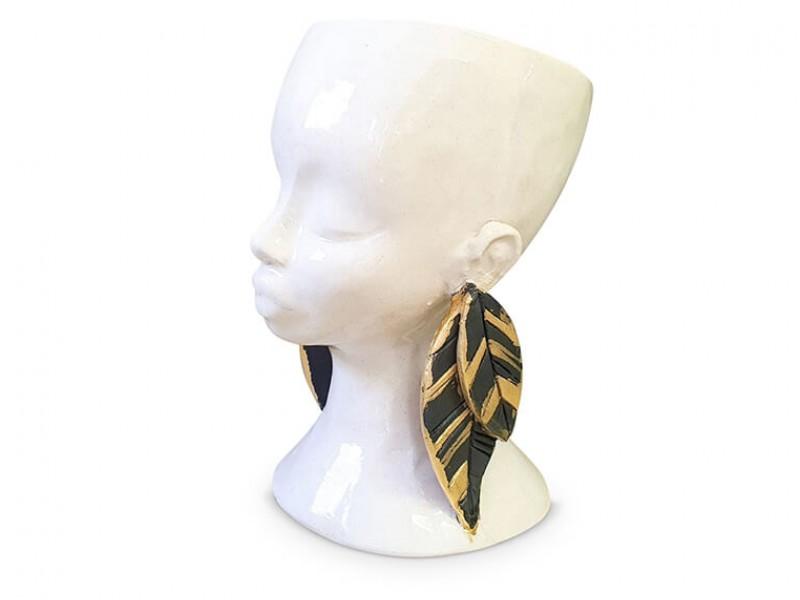 Handmade Ceramic Lady Planter - Gold Lustre  Leaf Earrings