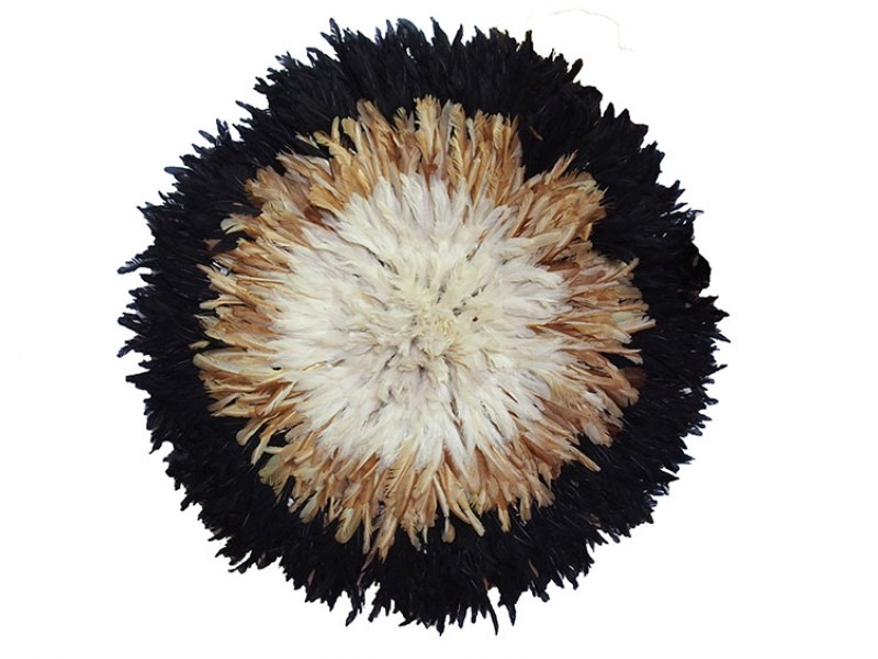 Juju Feather Hat Black, Natural, Ivory 50cm