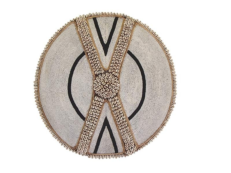 Beaded Shield - White with Black and Cowrie Cross