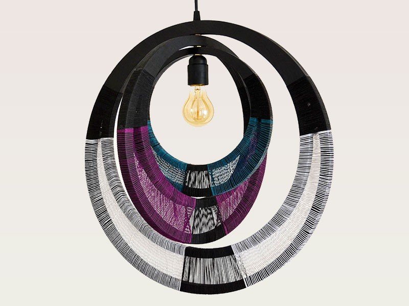 Purple and Black Lampshade