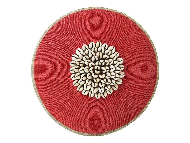 Small Beaded Shield - Red with Cowrie Center