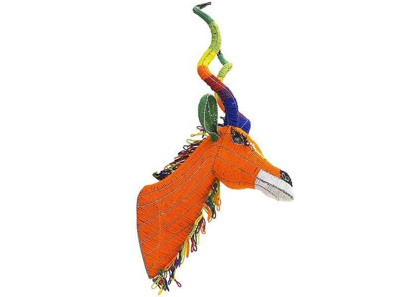 Colourful Beaded Wall Hanging Kudu Head