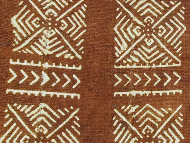 Brown Bogolan Mud Cloth - Maze pattern