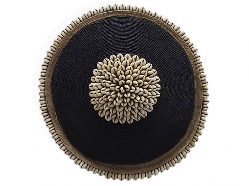 Small Beaded Shield - Black with Cowrie Center and Trim