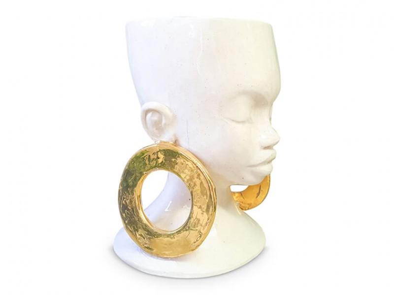 Handmade Ceramic Lady Planter - Gold Lustre  Earrings