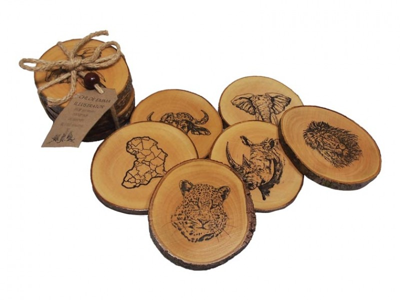 Set Of 6 Jacaranda Wood Coasters - Big 5