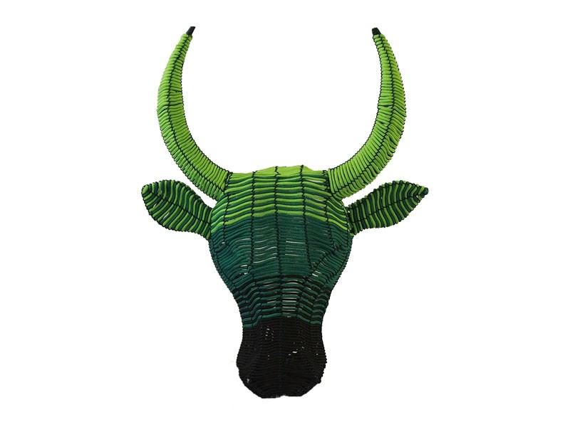 Small Rope Bull Head Wall Hanging Green Ombre