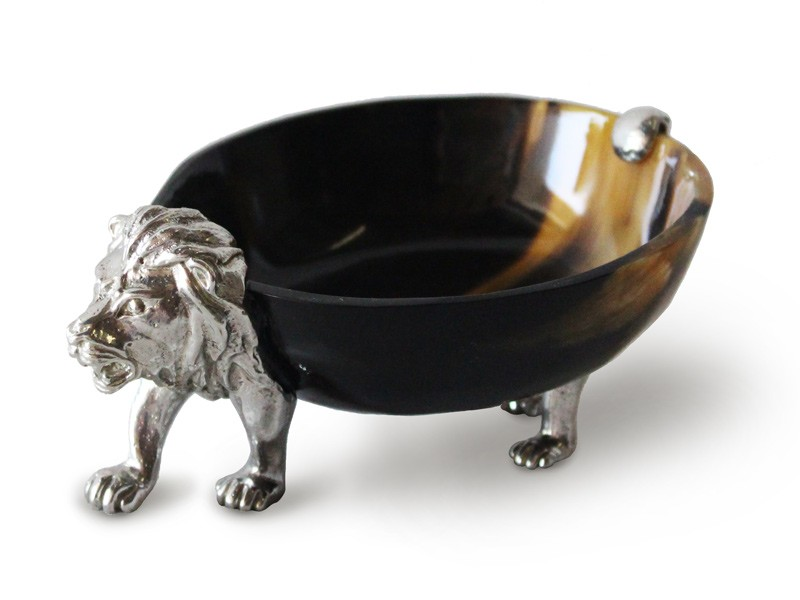 Pewter Lion Cow Horn Bowl
