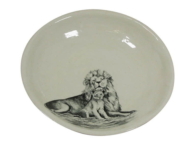 Ceramic Lion and Cub Bowl